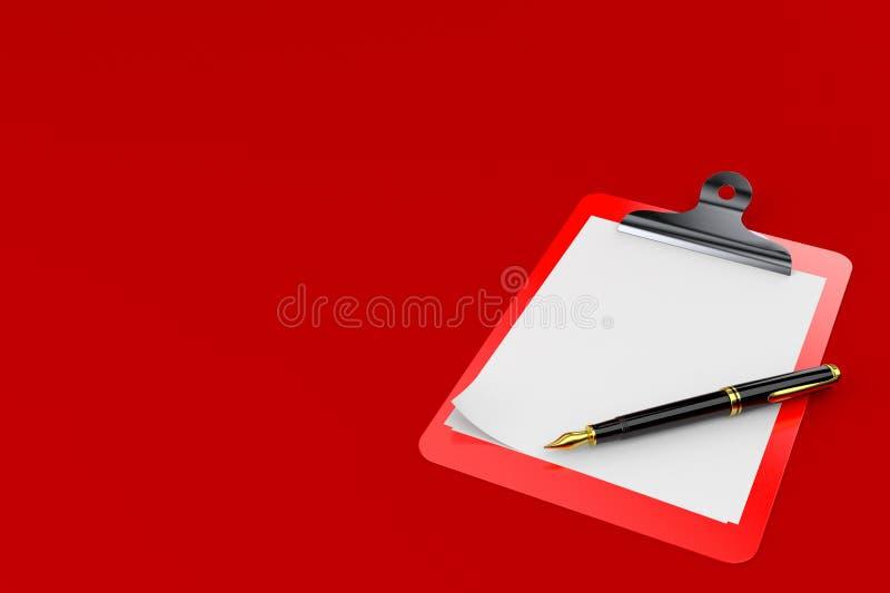 空白剪贴板笔 库存例证