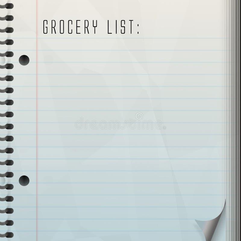 空白副食品列表 库存例证