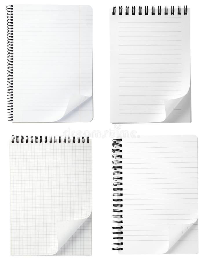 空白卷毛笔记本办公室纸张 图库摄影