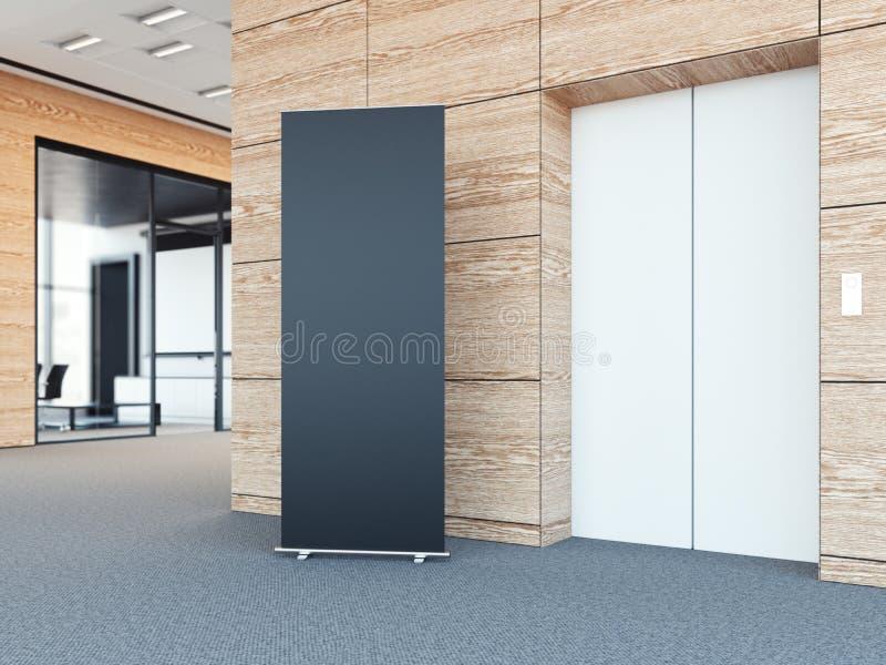 空白卷起在现代办公室大厅的bunner 3d翻译 库存例证