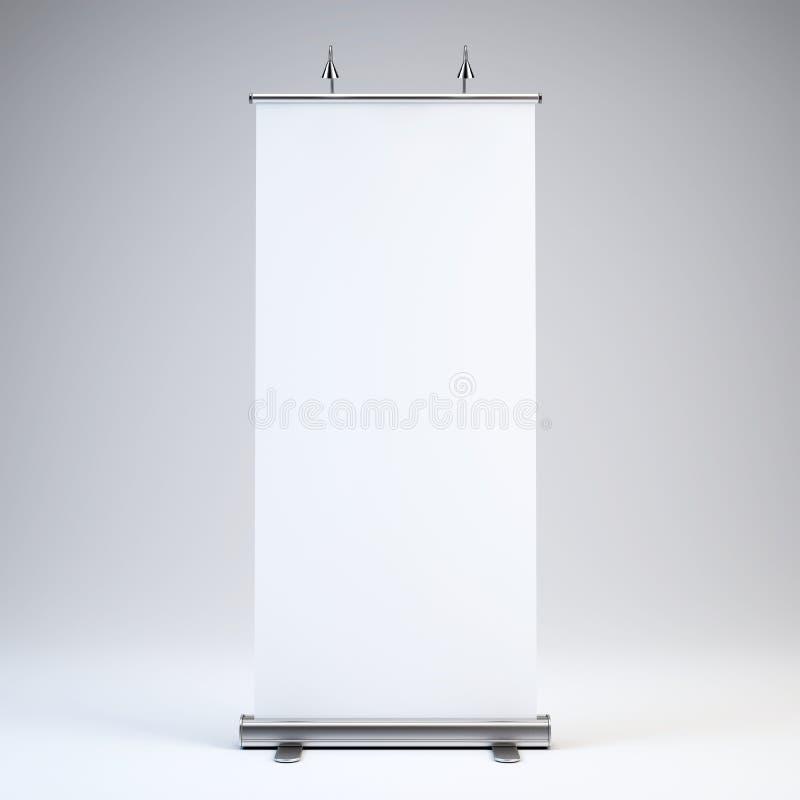 空白卷起横幅显示在白色背景 库存例证