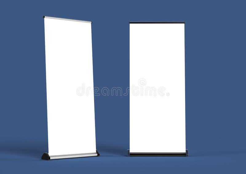空白卷起横幅模板 在颜色背景大模型的翻译 向量例证