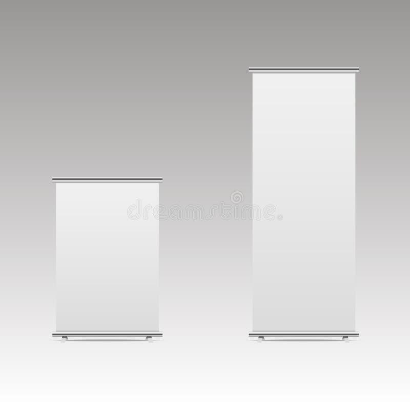 空白卷起横幅立场大模型 空白商业展览的摊白色和 也corel凹道例证向量 向量例证