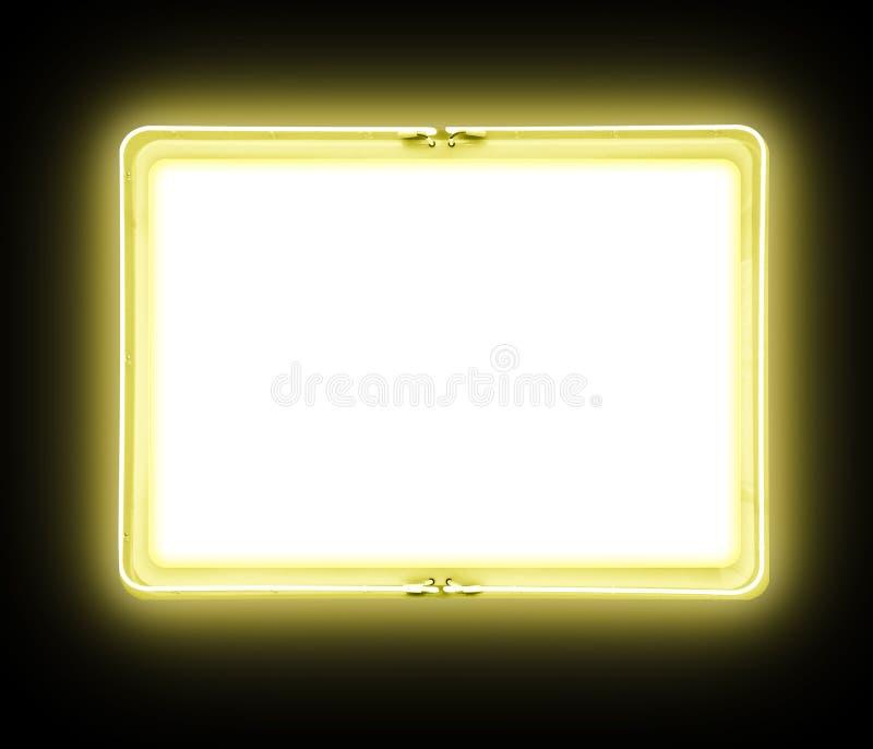 空白发光的霓虹灯广告黄色 库存图片