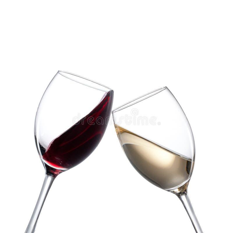 空白和红葡萄酒玻璃 图库摄影