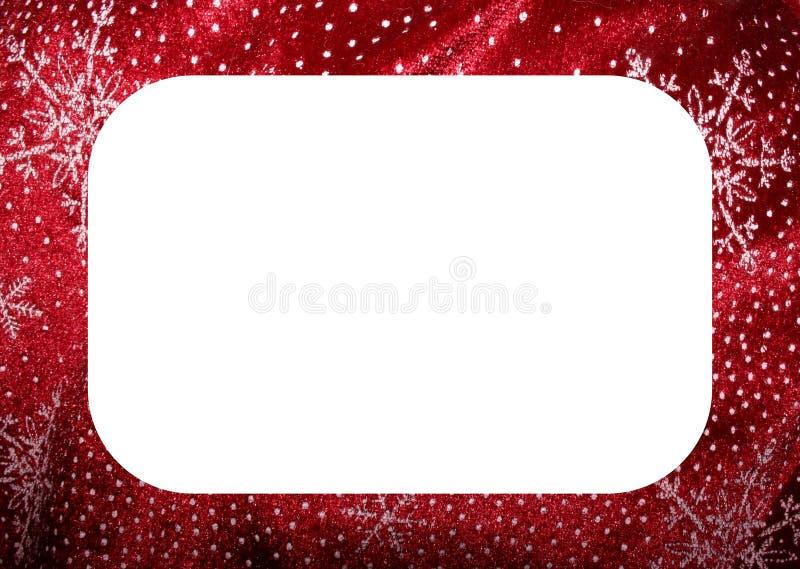 空白圣诞节框架红色的雪花 免版税库存图片