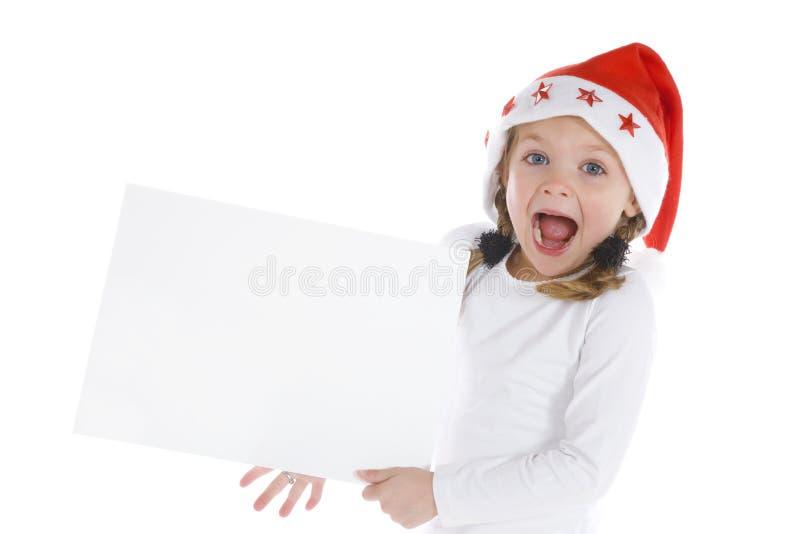 空白圣诞节逗人喜爱的女孩少许符号 免版税库存图片