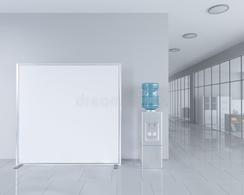 空白在广告立场附近卷起在明亮的办公室内部的横幅立场与裁减路线 3d例证 向量例证