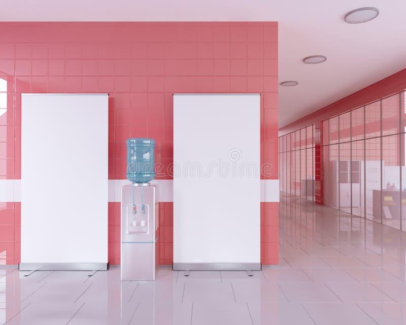 空白在广告立场附近卷起在明亮的办公室内部的横幅立场与裁减路线 3d例证 库存例证