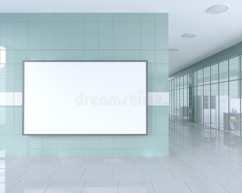空白在广告立场附近卷起在明亮的办公室内部的横幅立场与裁减路线 3d例证 皇族释放例证