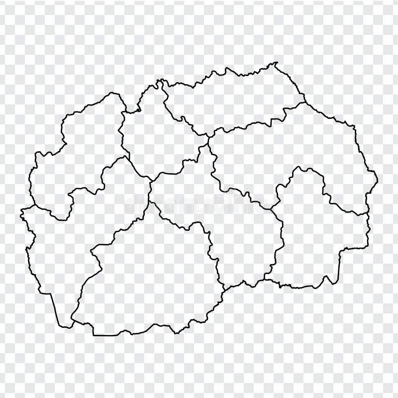 空白地图北部马其顿 北部马其顿的优质地图有省的在您的网站设计的透明背景, 库存例证