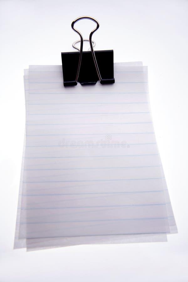 空白夹子便条纸 免版税库存图片