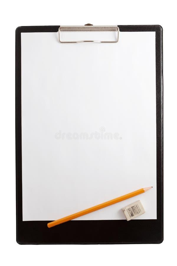 空白夹子剪贴板金属纸张塑料 免版税库存照片