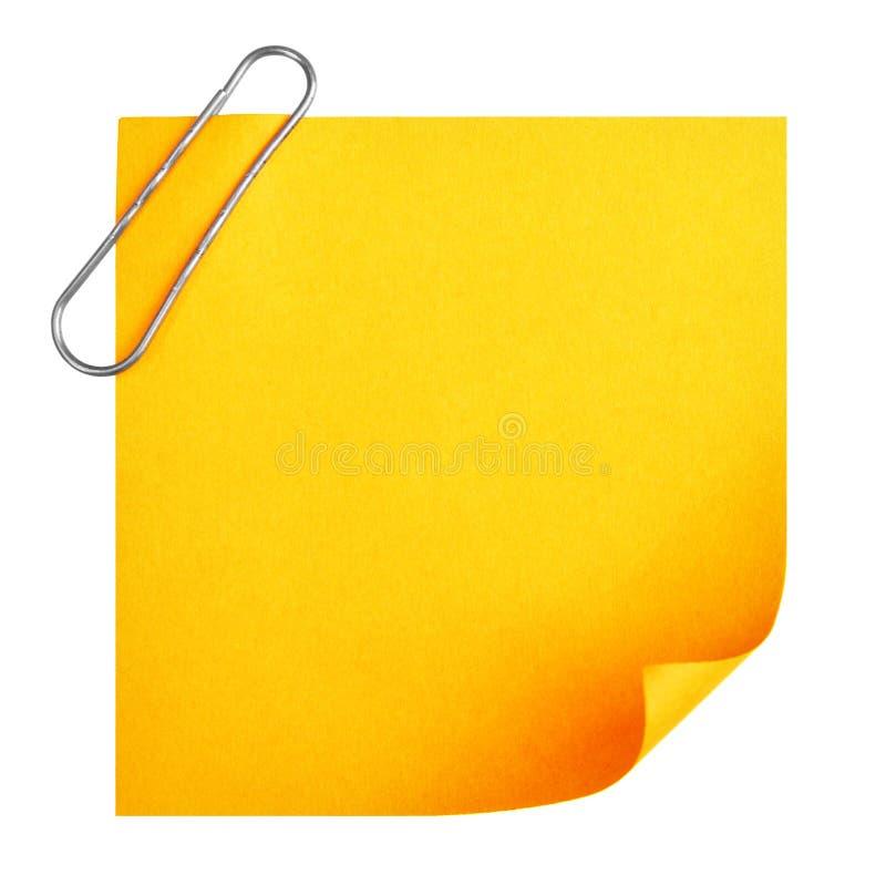 空白夹子纸张 库存图片