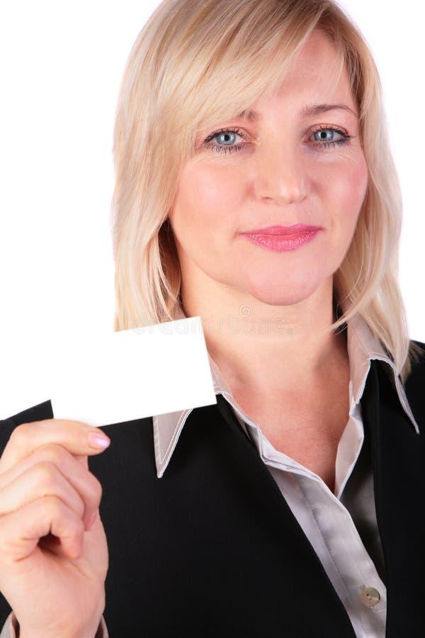 空白女实业家看板卡中年的显示 免版税库存图片