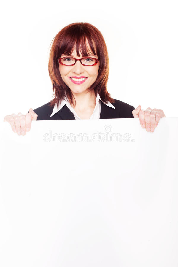 空白女实业家藏品符号微笑 免版税库存照片