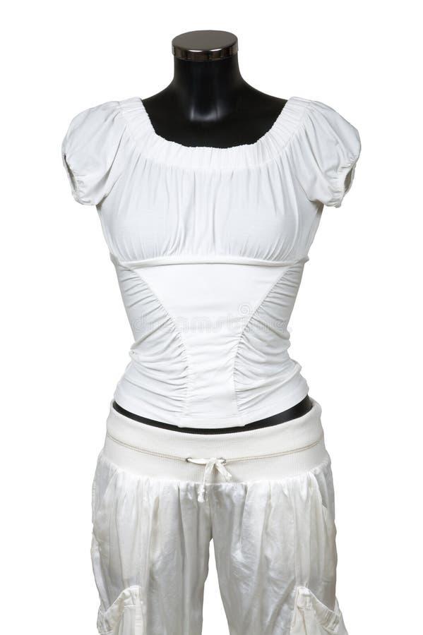 空白女衬衫的长裤 图库摄影