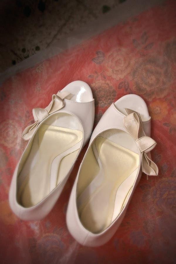 空白婚礼鞋子 免版税库存照片