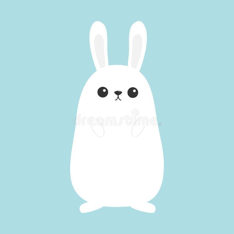 空白小兔 滑稽的顶头面孔 大耳朵 逗人喜爱的kawaii漫画人物 婴孩贺卡模板 愉快的复活节标志symbo 向量例证