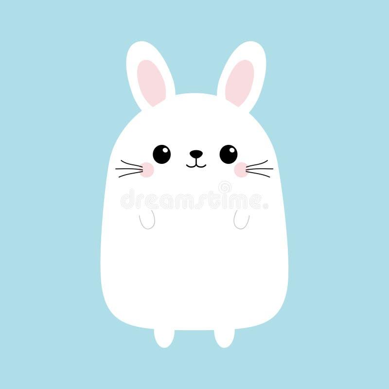 空白小兔 滑稽的顶头面孔 逗人喜爱的kawaii漫画人物 婴孩贺卡模板 愉快的复活节标志标志 蓝色ba 向量例证