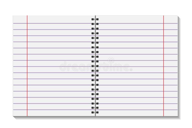空白开放页预定与黏合剂金属螺旋模板 纸片在线的 在白色背景隔绝的笔记本嘲笑 向量例证