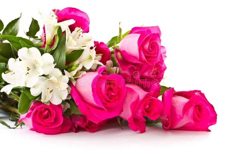 空白德国锥脚形酒杯红色的玫瑰 图库摄影