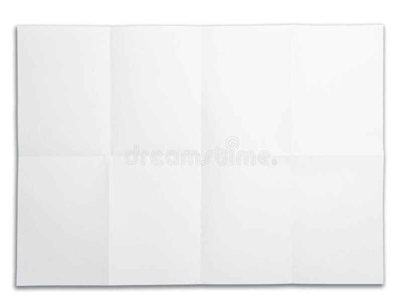 空白折叠查出的标记纸张白色 免版税图库摄影