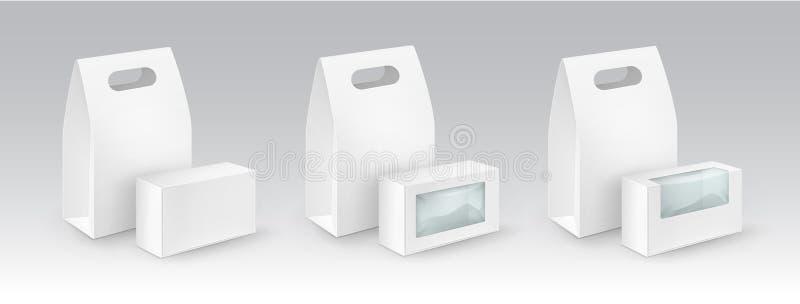 空白拿走包装为与塑料窗口的三明治的午餐 向量例证