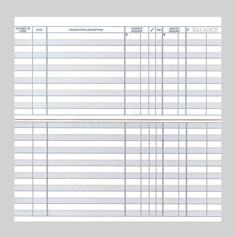空白支票簿寄存器 免版税库存照片