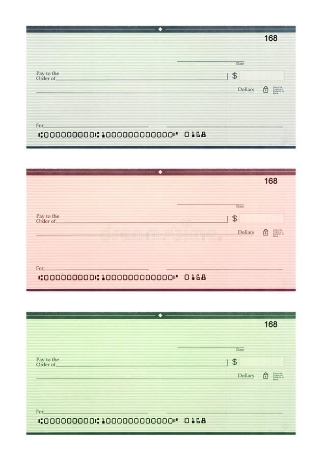 空白支票设置了三 库存照片
