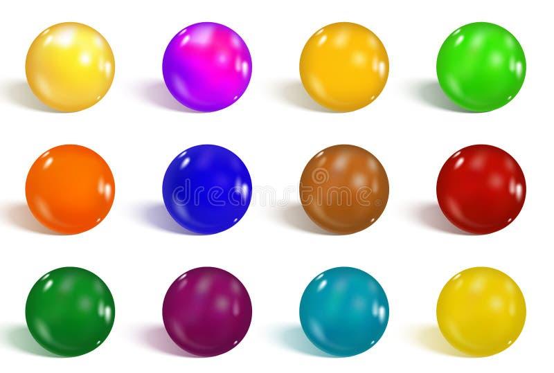 1空白收集五颜六色的光滑的查出的集合的范围 现实梯度滤网 五颜六色的软的圆的按钮或生动的颜色 向量例证