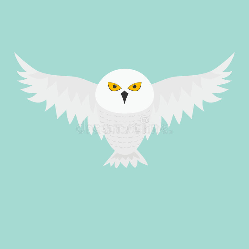 空白斯诺伊猫头鹰 与大翼的飞鸟 黄色眼睛 北极极性动物收藏 婴孩教育 平的设计 查出 B 库存例证