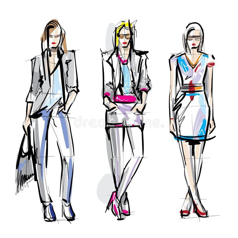 空白明亮的颜色的时装模特儿 草图 向量例证