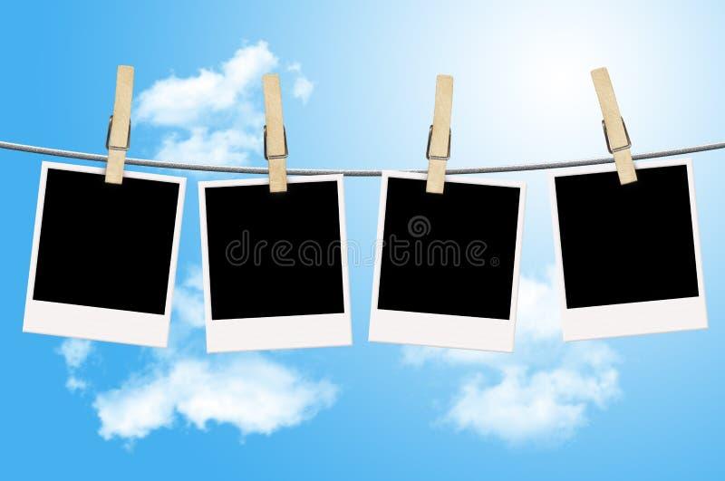 空白晒衣绳停止的照片 向量例证