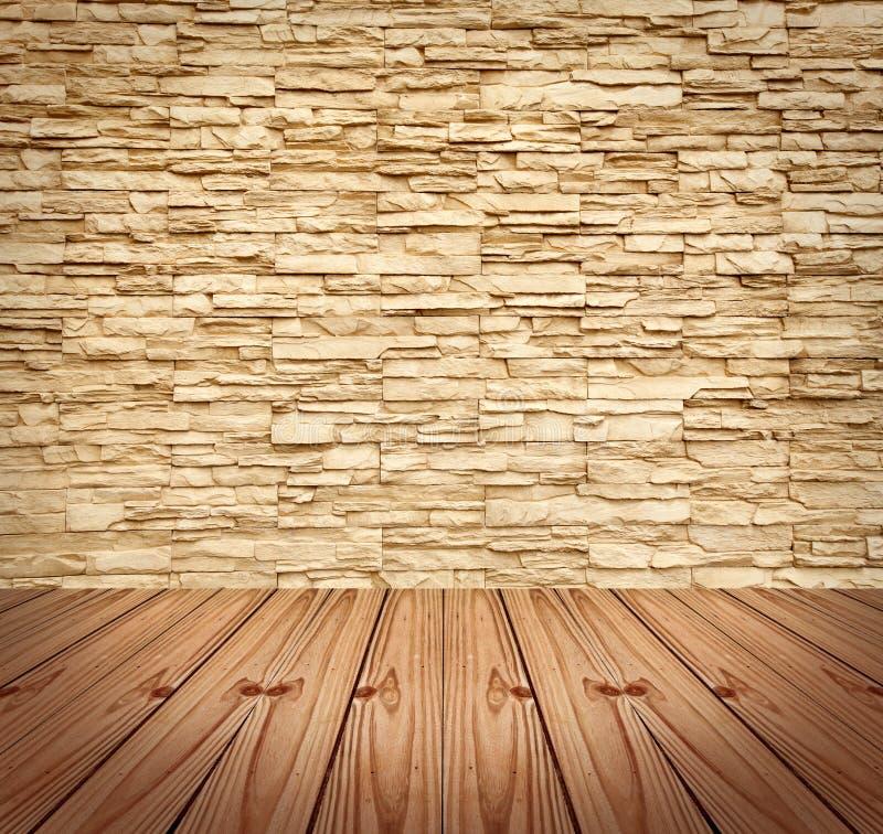 空白木砖楼层现代的墙壁 图库摄影