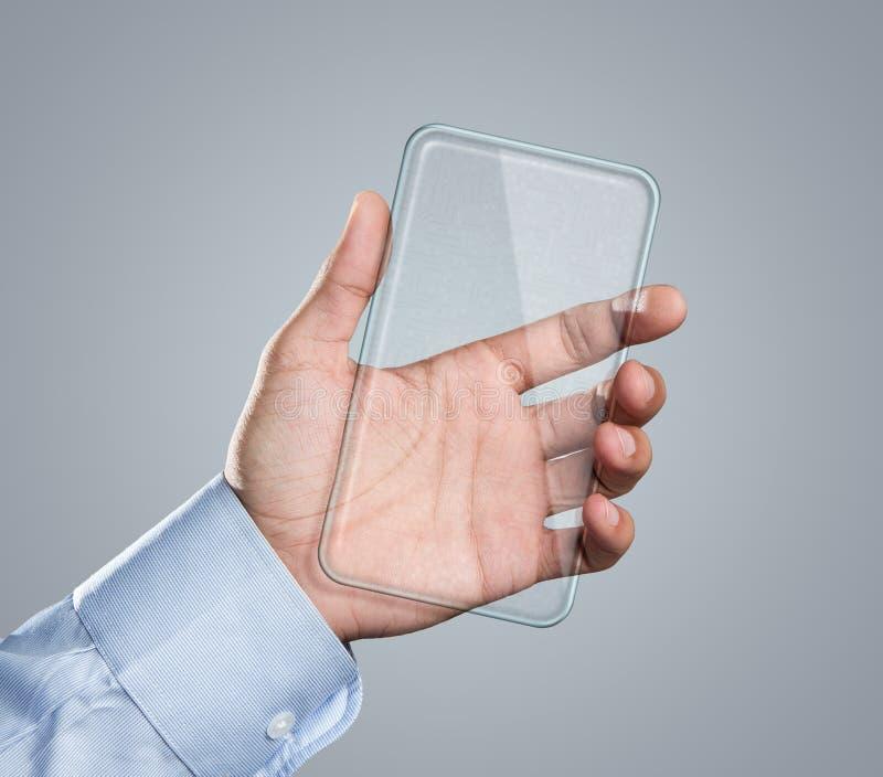 空白未来派巧妙的电话在手中 免版税库存图片