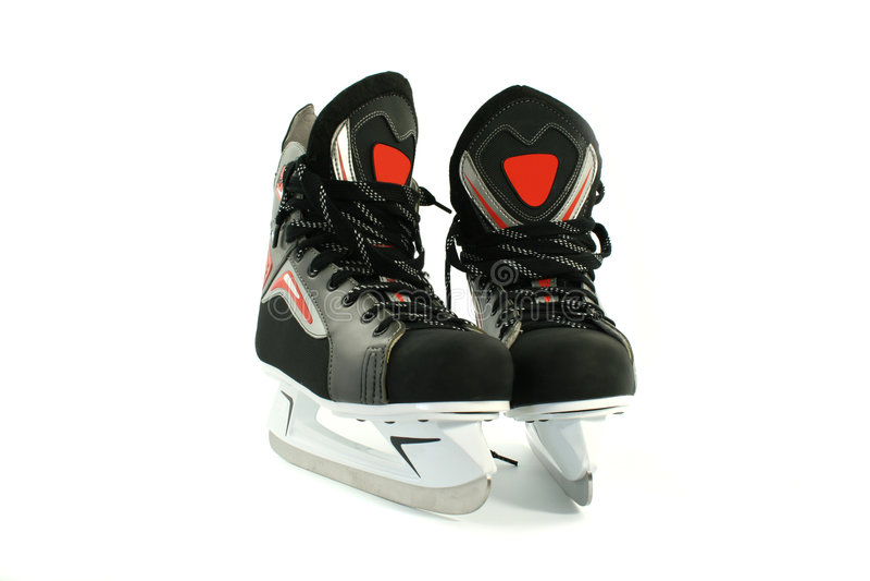 空白查出的新的冰鞋 库存照片
