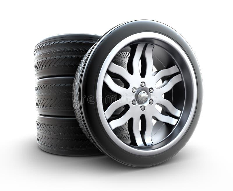 空白查出的集合的轮子 库存例证