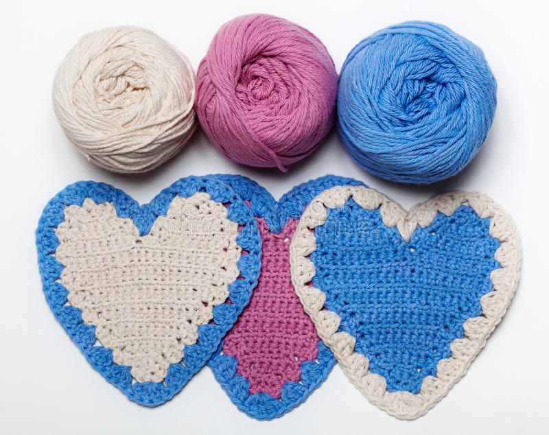 空白桃红色蓝色钩针编织被编织的重点 免版税库存照片