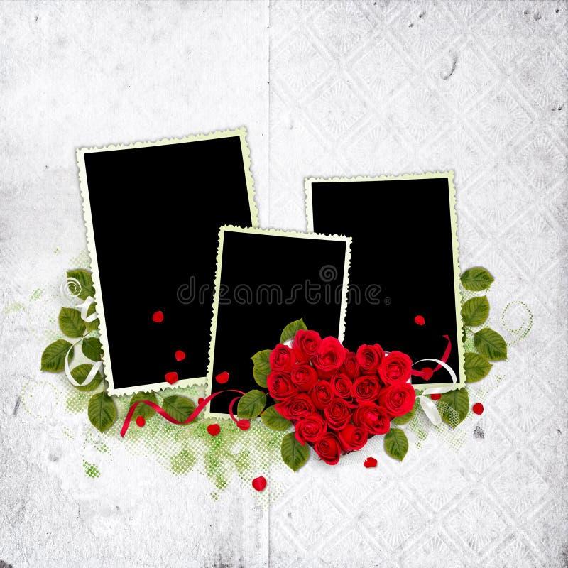 空白框架重点红色的玫瑰 库存例证