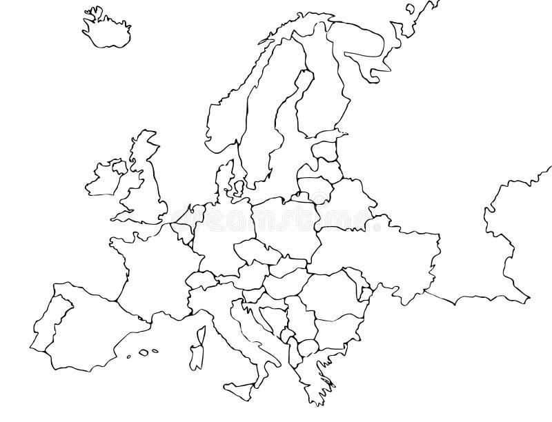 空白欧洲映射 向量例证