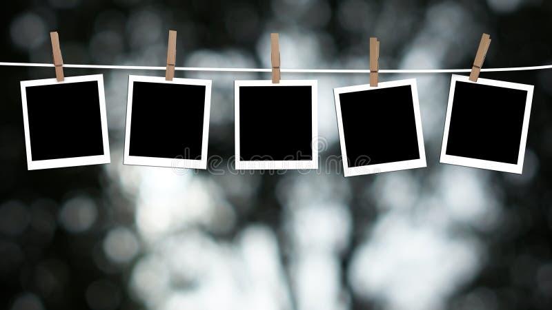 空白照片垂悬 免版税库存图片