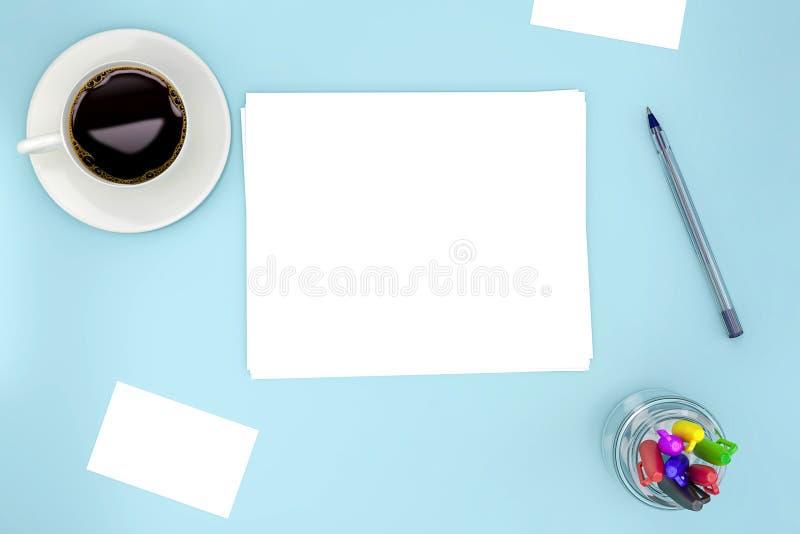 空白白皮书在浅兰的背景的板料大模型与咖啡和笔和有些卡片 向量例证
