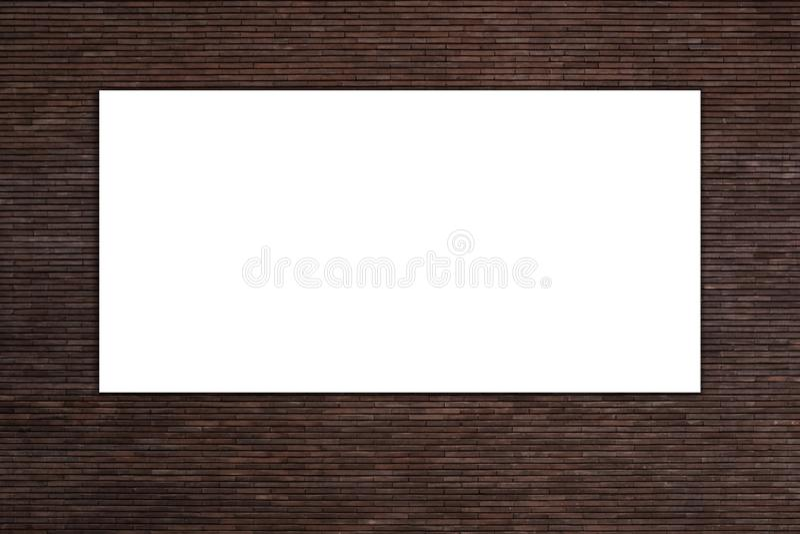 空白白色广告广告牌对红砖墙壁 库存图片