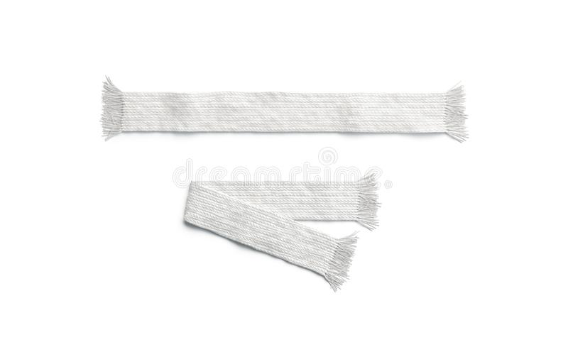 空白白色被编织的围巾折叠了并且展开了大模型集合,被隔绝 库存例证