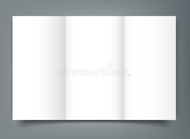 空白的三部合成的小册子大模型盖子模板 查出 皇族释放例证