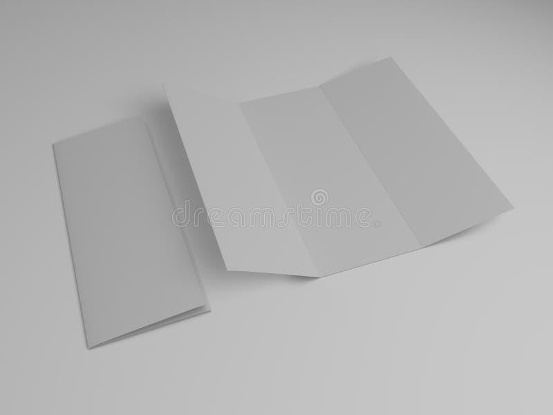 空白的三部合成的小册子设计模板 3d 向量例证