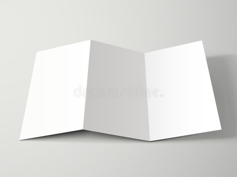 空白的三部合成的小册子设计 库存例证
