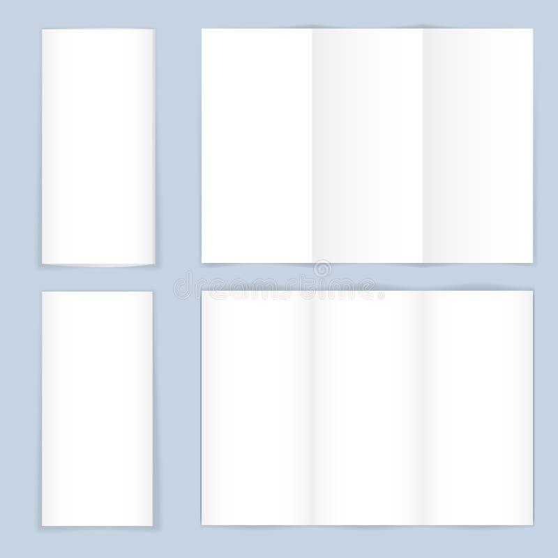 空白的三部合成的纸传单 向量例证
