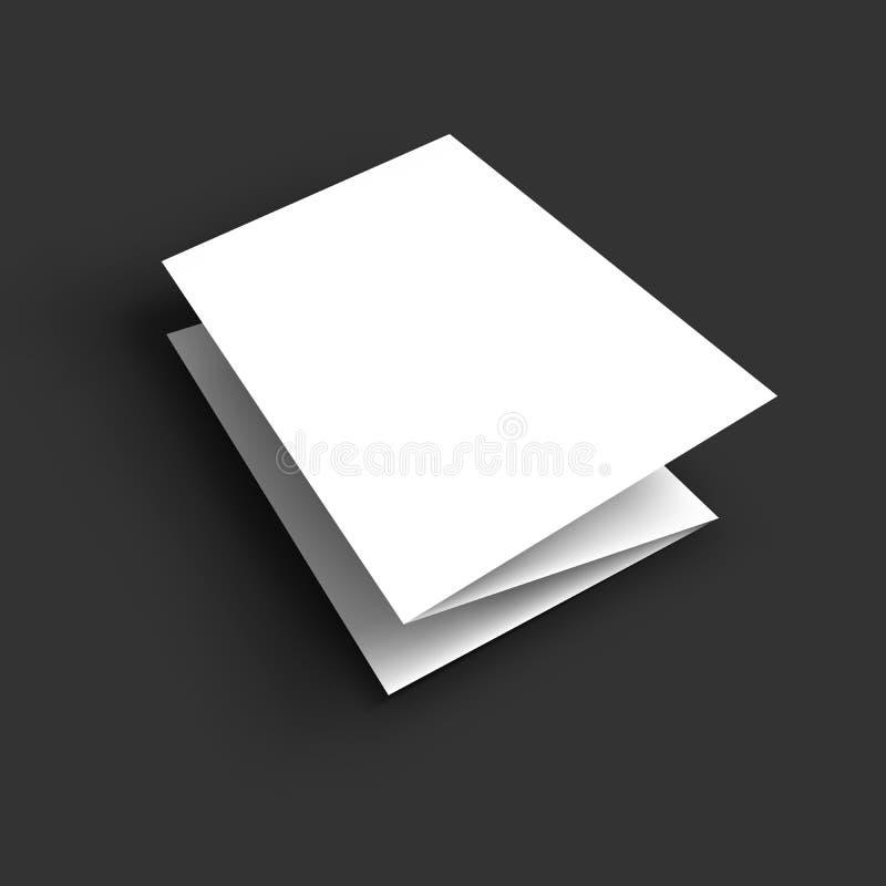 空白的三部合成的纸小册子大模型 向量例证